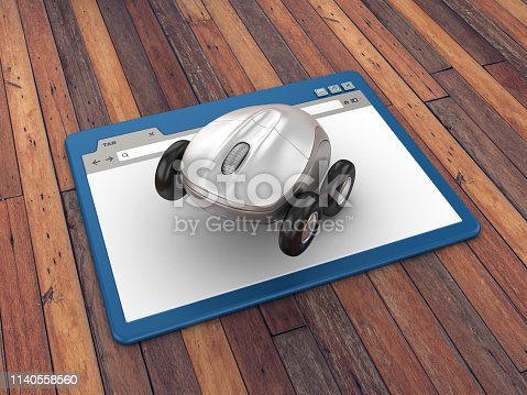 Web Browser with Compute Mouse on Wheels on Wood Floor Background  - 3D Rendering