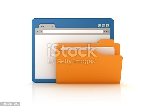 istock Web Browser with Computer Folder - 3D Rendering 915201060