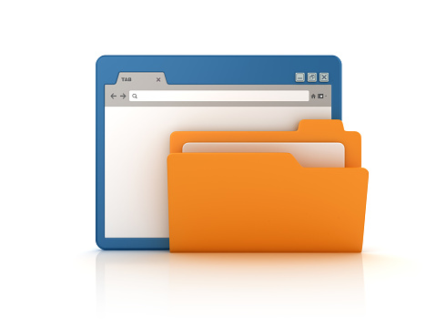 Web Browser with Computer Folder - White Background - 3D Rendering