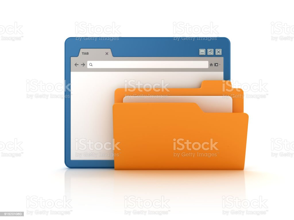 Web Browser with Computer Folder - 3D Rendering stock photo