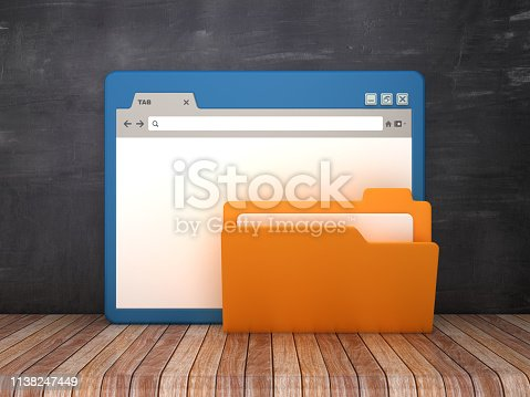 1129712029 istock photo Web Browser with Computer Folder on Chalkboard Background  - 3D Rendering 1138247449