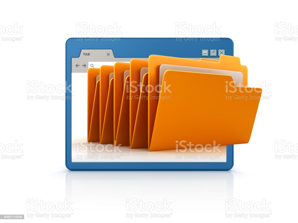 Web Browser with Computer Folders - 3D Rendering stock photo