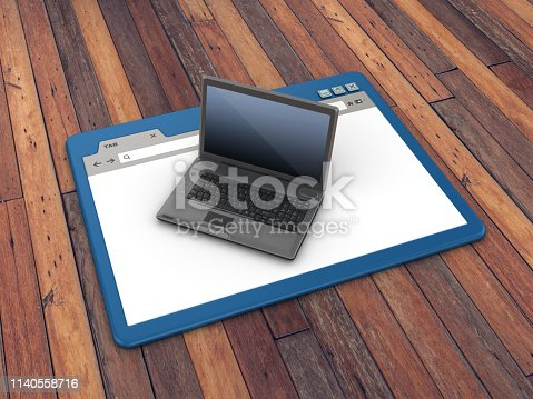 1129712029 istock photo Web Browser with Computer Laptop on Wood Floor Background  - 3D Rendering 1140558716