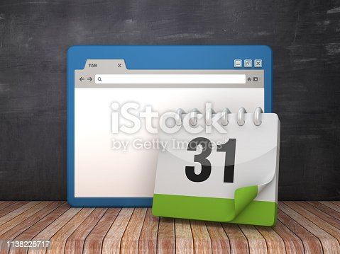 istock Web Browser with Day 31 Calendar on Chalkboard Background  - 3D Rendering 1138225717
