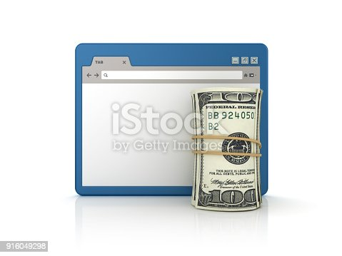 872222012istockphoto Web Browser with Dollar Roll - 3D Rendering 916049298