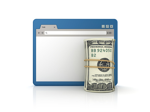 Web Browser with Dollar Roll - White Background - 3D Rendering