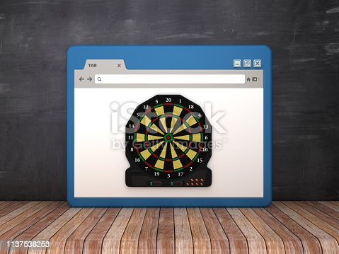 1172996896 istock photo Web Browser with Electronic Dartboard on Chalkboard Background  - 3D Rendering 1137536253