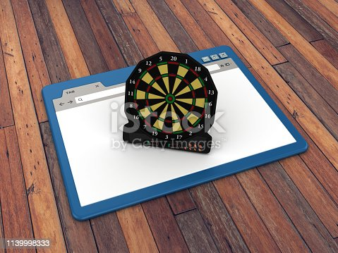 1172996896 istock photo Web Browser with Electronic Dartboard on Wood Floor Background  - 3D Rendering 1139998333