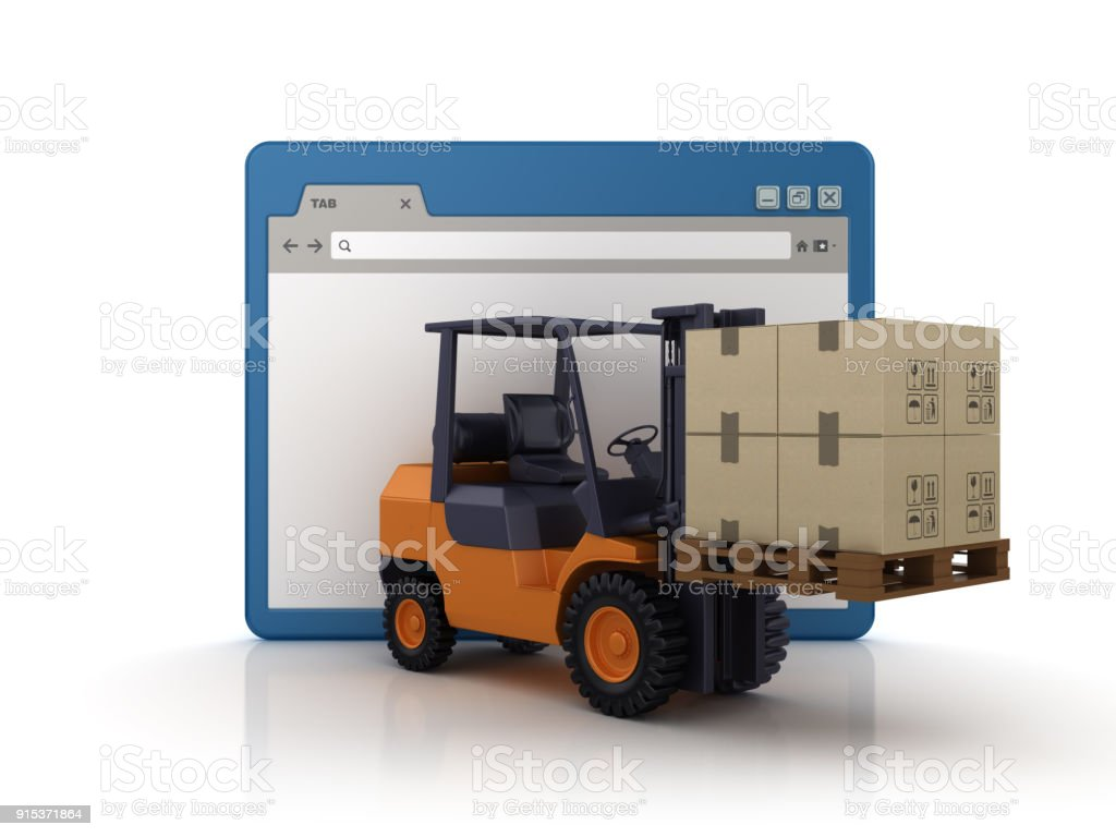 Web Browser With Forklift Truck 3d Rendering Stock Photo