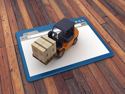 Web Browser with Forklift Truck on Wood Floor Background  - 3D Rendering