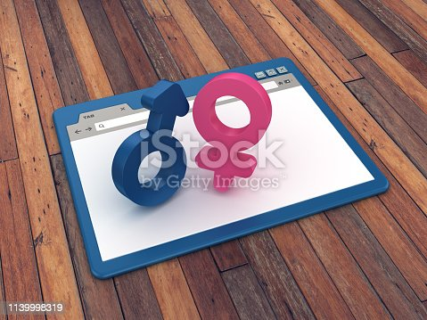 Web Browser with Gender Symbols on Wood Floor Background  - 3D Rendering
