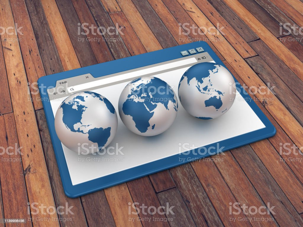 Web Browser With Globes World On Wood Floor Background 3d