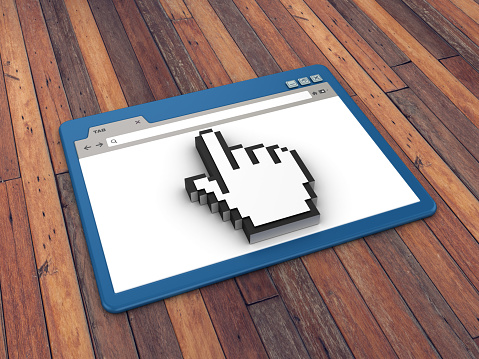 Web Browser with Hand Cursor on Wood Floor Background  - 3D Rendering