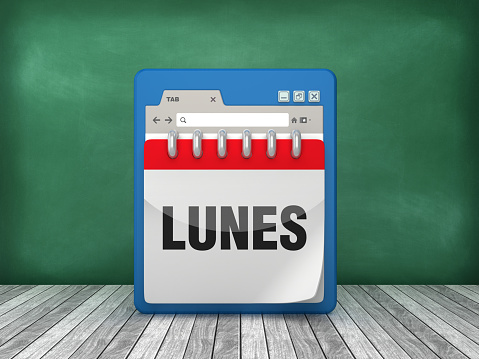 Web Browser with LUNES Calendar - Spanish Word - 3D Rendering