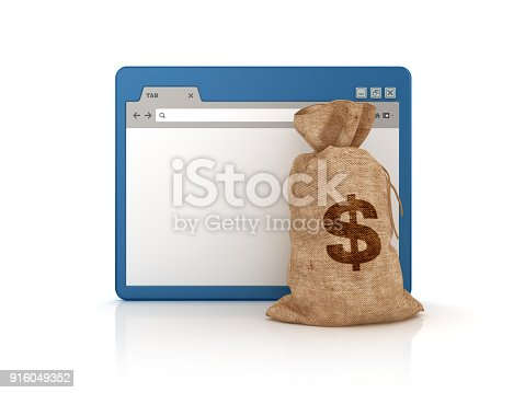 872222012istockphoto Web Browser with Money Dollar Bag - 3D Rendering 916049352