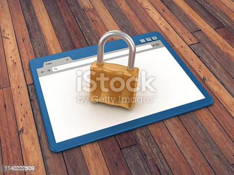 957759714istockphoto Web Browser with Padlock on Wood Floor Background  - 3D Rendering 1140222809