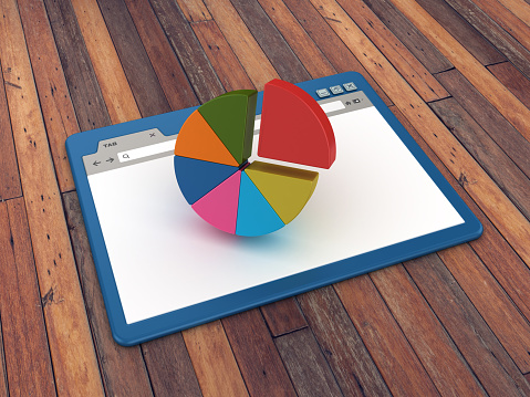 Web Browser with Pie Chart on Wood Floor Background  - 3D Rendering
