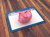 Web Browser with Piggy Bank on Wood Floor Background  - 3D Rendering