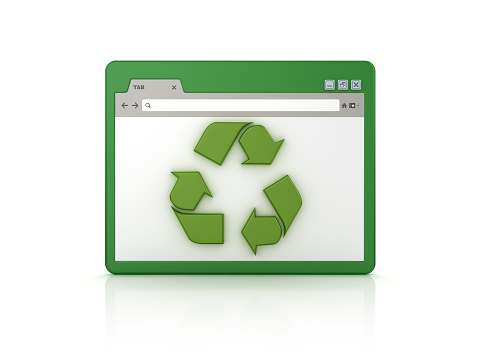 Web Browser with Recycling Symbol - White Background - 3D Rendering