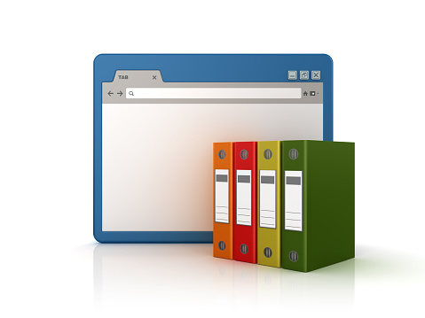Web Browser with Ring Binders - White Background - 3D Rendering