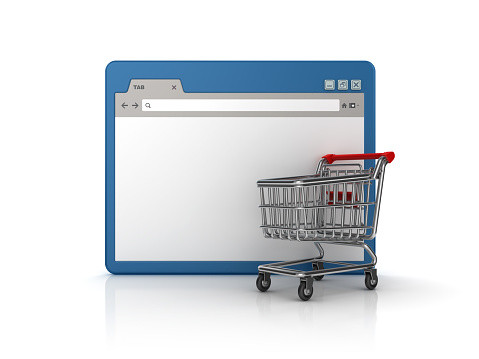 Web Browser with Shopping Cart - White Background - 3D Rendering