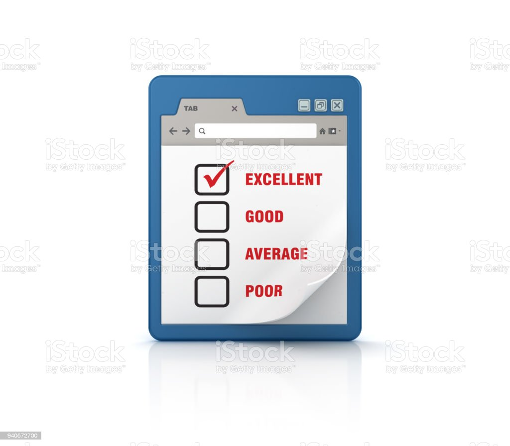 Web Browser with Survey - 3D Rendering stock photo