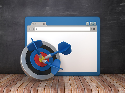 Web Browser with Target and Dart on Chalkboard Background  - 3D Rendering