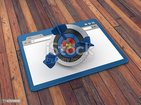 1172996896 istock photo Web Browser with Target and Darts on Wood Floor Background  - 3D Rendering 1140558592