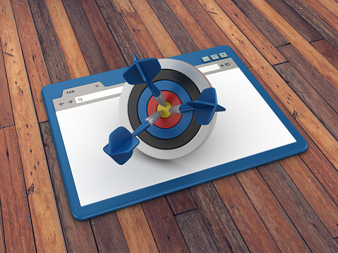 Web Browser with Target and Darts on Wood Floor Background  - 3D Rendering