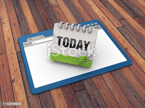 istock Web Browser with Today Calendar on Wood Floor Background  - 3D Rendering 1140558645