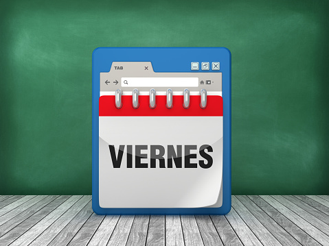 Web Browser with VIERNES Calendar - Spanish Word - 3D Rendering