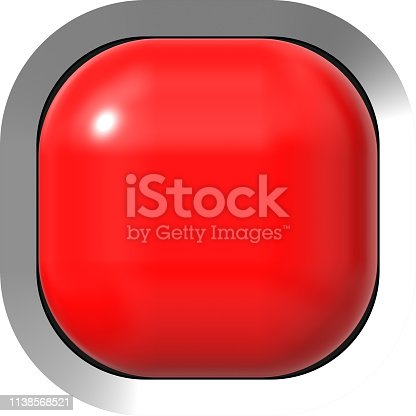 istock Web button 3d - red glossy realistic with metal frame, easy to expand 1138568521