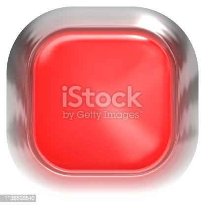 istock Web button 3d - red glossy realistic with metal frame, easy to expand 1138568540