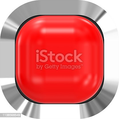 istock Web button 3d - red glossy realistic with metal frame, easy to expand 1138568549