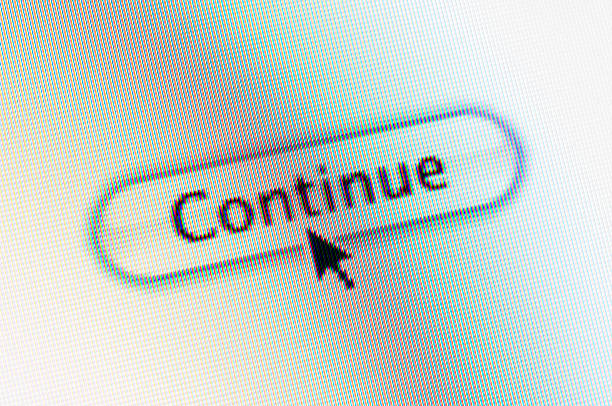 Continue Web Button And Mouse Arrow On Computer Screen Stock Photo 492544528
