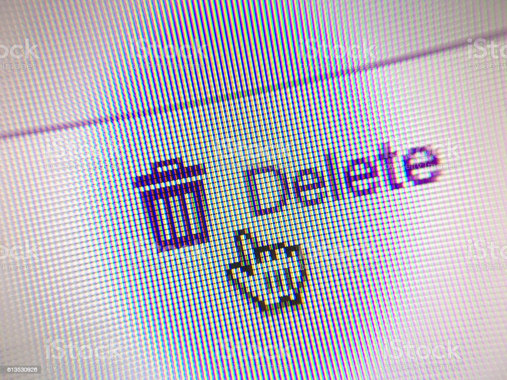DELETE web button and mouse arrow on computer screen stock photo