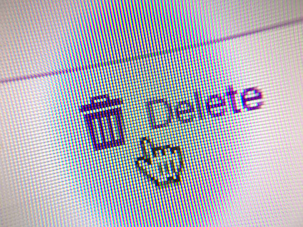delete web button and mouse arrow on computer screen - delete key stock photos and pictures