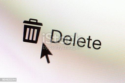 Closeup of a Delete web button