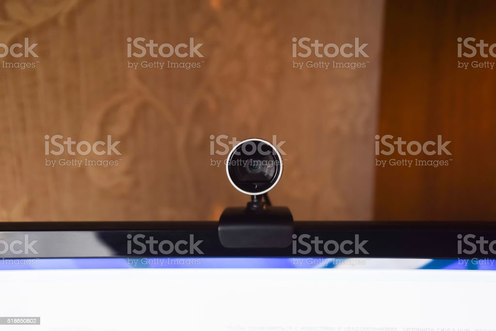 Web camera, attached to the monitor stock photo