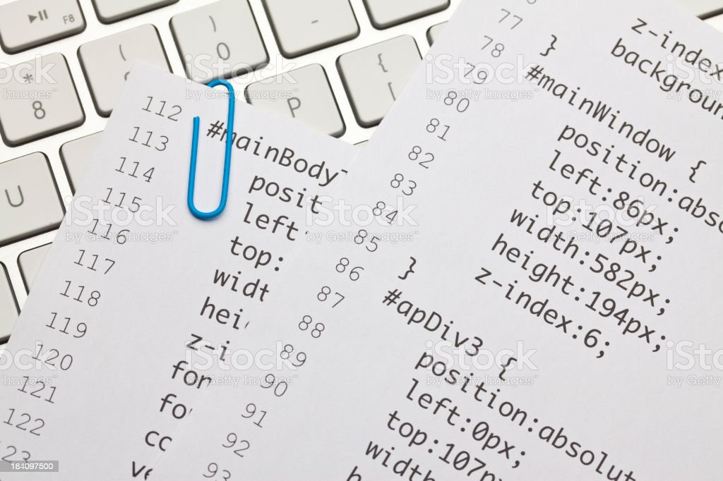 Web code on keyboard royalty-free stock photo