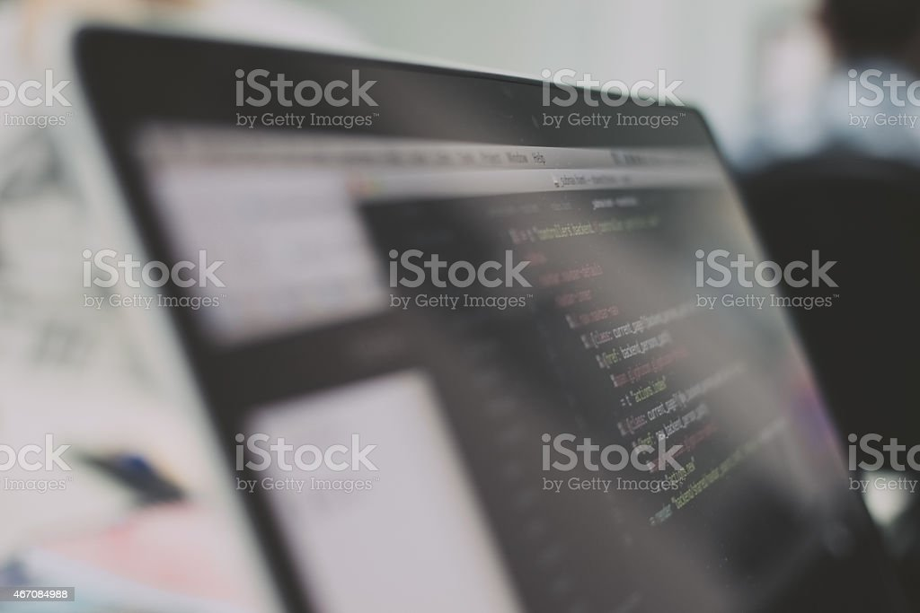 Web coding script stock photo