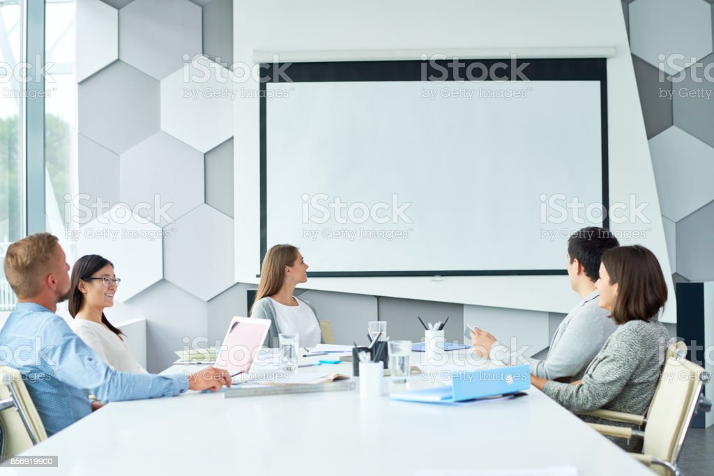 Web conferencing with business partner stock photo
