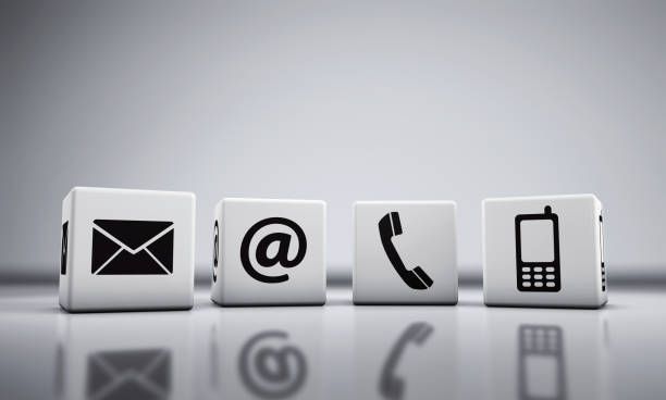 Web Contact Us Icons On Cubes stock photo