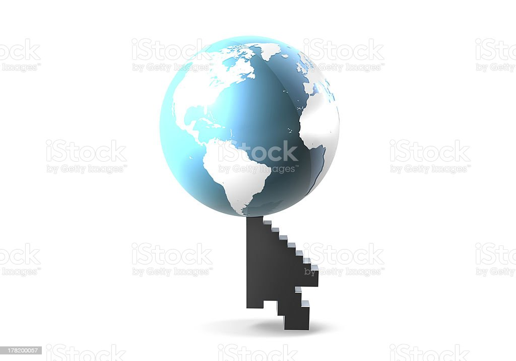 Web Cursor and The World royalty-free stock photo