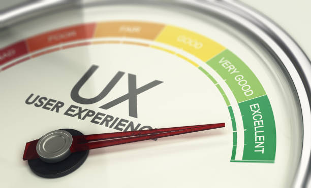 Web Design and Marketing Concept, Measuring UX, User Experience stock photo