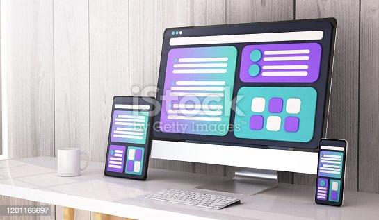 istock web design concept on desktop 3d rendering 1201166697