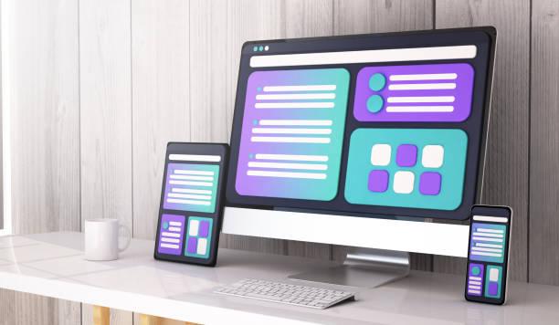 Webdesign-Konzept für Desktop-3D-Rendering – Foto