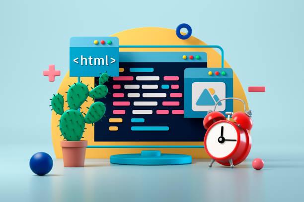 webdesign-entwicklung und codierungskonzept - html stock-fotos und bilder