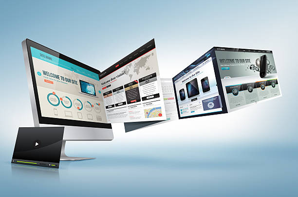 web design development concept - web page stock photos and pictures