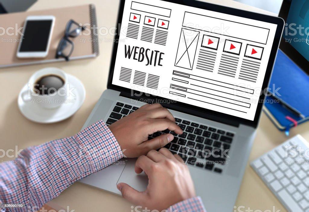 Web-Design-Layout skizzieren Zeichnung Software Media WWW und Grafik Layout Website-Entwicklungsprojekt – Foto